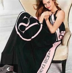 NEW  Victoria's Secret Throw Blanket Pink & Black Striped So