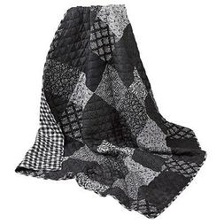Night And Day Quilted Throw Blanket - Reversible Black and W