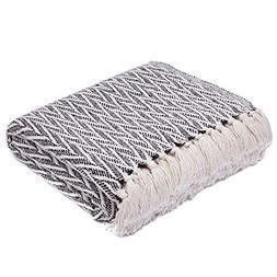 Americanflat Nira Black and Cream Chevron Cotton Blanket Thr