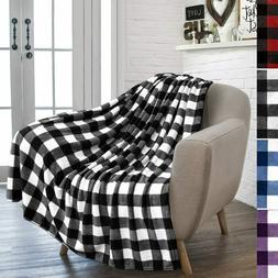 PAVILIA Buffalo Plaid Throw Blanket for Sofa Couch | Soft Fl
