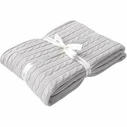 NTBAY 100% Throws Cotton Cable Knit Blanket Super Soft Warm