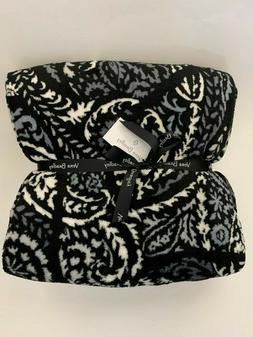 "NWT Vera Bradley 80"" x 50"" Soft Throw Blanket Paisley Noir H"