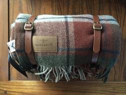 NWT PENDLETON Camp Blanket Checked with Leather Carrier Wool