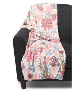 NWT DREAM HOME Ultra Plush Tropical Throw 60x70 Floral Cactu