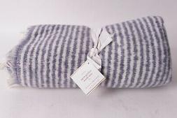 NWT Pottery Barn Ticking Stripe Cozy throw blanket 50x60 blu