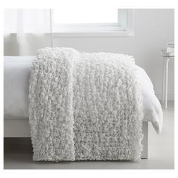 "Ikea OFELIA Super Soft Crinkled Throw Blanket 51"" x 67"" Whit"