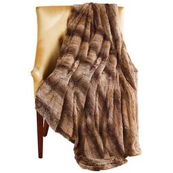 Ombre Faux Fur Throw Blanket in Relaxing Brown Neutral Color