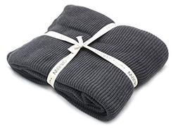 100% Organic Cotton Knit Throw Blanket with Tassels - Soft P