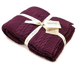 Viverano 100% Organic Cotton Throw Cable Knit Blanket  Super