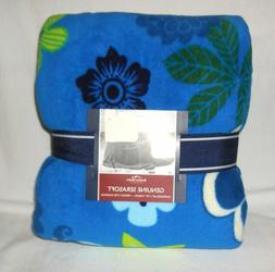 Berkshire Over Size Serasoft Fleece Throw Blanket Blue Flora