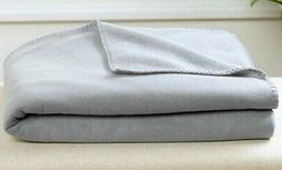 Oversized Fleece Foot Pocket Throw Blanket Gray NEW