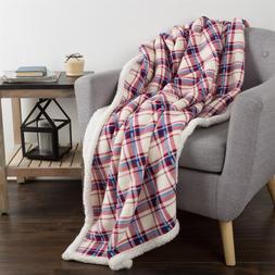 "Lavish Home Oversized 60""x70"" Fleece/Sherpa Blanket Throw Pl"