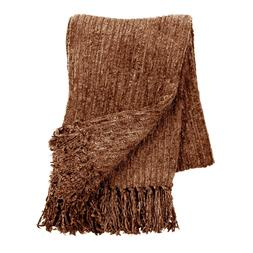 Bedford Oversized Fringed Chenille Throw Blanket with 6-Inch