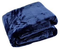 Longrich Oversized Ultra Soft Flannel Throw Blanket, Navy Bl