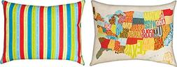 Pair of Across The Country States Map 24 X 18 Inch Throw Pil