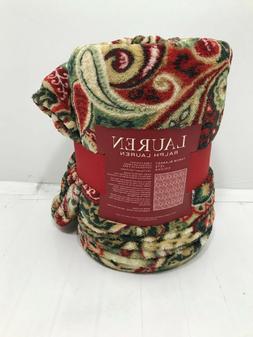 """Ralph Lauren  Paisley Throw Blanket Fleece 60"""" x 70""""  NEW"""