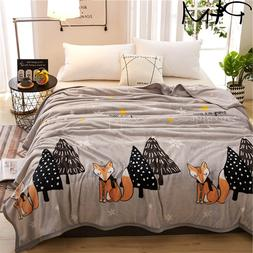 Papa&Mima Fox and tree print summer <font><b>throw</b></font