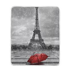 ALAZA Paris Eiffel Tower Red Umbrella Blanket Lightweight So