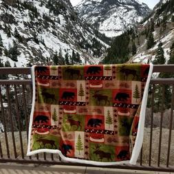Carstens Patchwork Lodge Tree Bear Moose Throw Plush Blanket