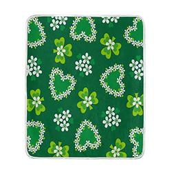 ALAZA St Patrick's Day Shamrock Flower Love Blanket Soft War