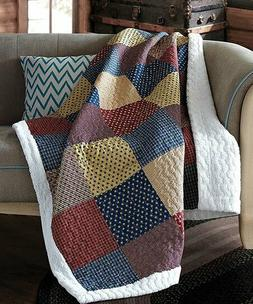 PATRIOTIC CHARM SHERPA QUILT THROW LODGE PATCHWORK CABIN BLA