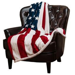 Chanasya Patriotic US Flag Print Fleece Sherpa Throw Blanket