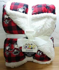 "Berkshire Peanuts Snoopy Plush Sherpa Throw Blanket 50"" x 60"