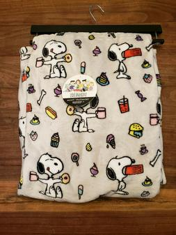"Berkshire Blanket Peanuts Snoopy Snacks Throw Blanket  55""x7"