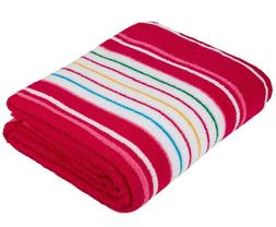 """Pink Striped Terry Sheet Blanket Throw 59x86"""" 100% Cotton Be"""