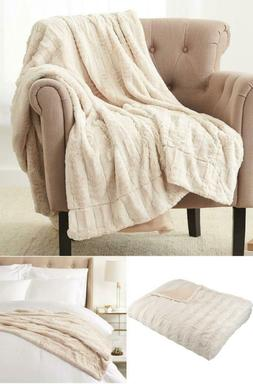 Pinzon Faux Fur Throw Blanket 63 x 87 Inch Ivory