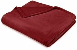 "Pinzon Velvet Plush Throw Blanket, 50"" X 60"", Burgundy"