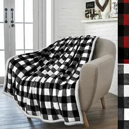Plaid Buffalo Checker Cabin Throw Blanket Soft Sherpa Fleece