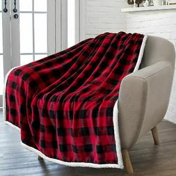 Plaid Buffalo Checker Christmas Throw Blanket Soft Sherpa Fl