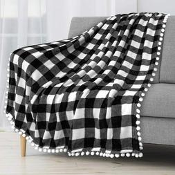 Plaid Buffalo Checker Pom Pom Fringe Throw Blanket Soft Flee