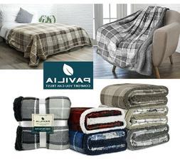 Plaid Sherpa Throw Blanket Fleece Checkered Soft Plush Warm