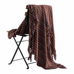 Plaid Soft Warm Throw Blanket Versatile Bedspread w/ Fringe