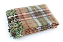 "John Hanly Plaid Wool Blanket Throw 100% Wool Soft 54"" Wide"