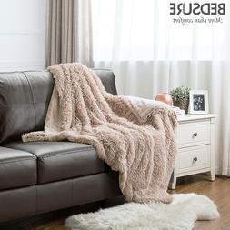 Bedsure Plush Faux Fur Reversible Fleece Throw Fuzzy Warm So