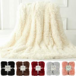 Plush Faux Fur Throw Blanket Reversible Fluffy Fleece Shaggy