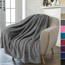 PAVILIA Plush Sherpa Throw Blanket for Couch Sofa   Fluffy M