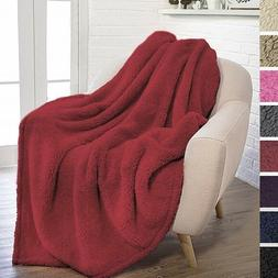 PAVILIA PLUSH SHERPA THROW BLANKET FOR COUCH SOFA
