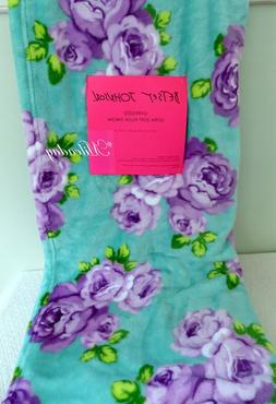 Betsey Johnson Plush Throw Blanket Floral Roses Purple Lilac