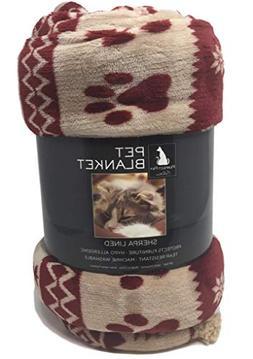 Plush Pet Throw Blanket - Burgundy with Paw Prints anda Snow