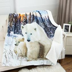 "Polar Bear Sherpa Throw Blanket Animal Blanket 50""x60"" Rever"