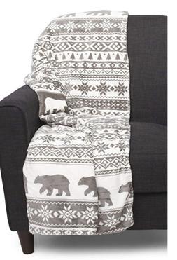 Berkshire Blanket Polar Bear Throw Fairlisle Snowflakes Sher