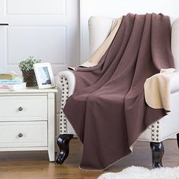 Polar Fleece Throw Blanket 50x60 Travel size Soft Warm Brown