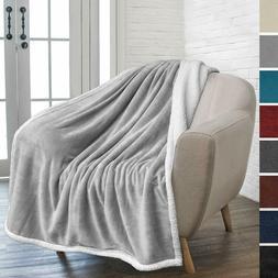 Pavilia Premium Fleece Sherpa Throw Blanket   Super Soft, Co