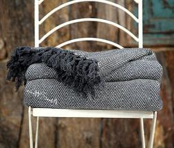 About Home Premium Herringbone Two Tone Throw Blanket 100%
