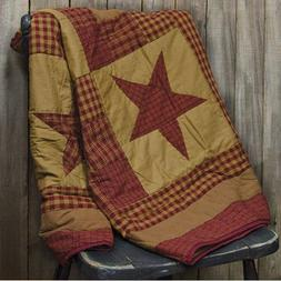 Primitive Country Red Gingham Star Patchwork Quilt Throw Bla