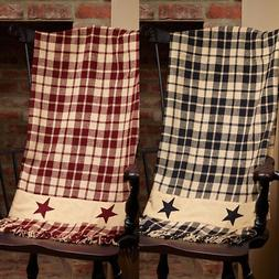 Primitive Farmhouse Star Country Throw Blanket, Burgundy or